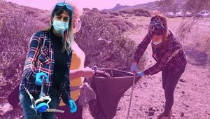 Tuğba Ekici Bodrum'da çöp topladı