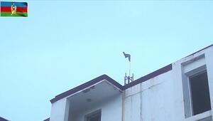 Azerbaycan ordusu işgalden kurtarılan Kelbecere bayrak dikti