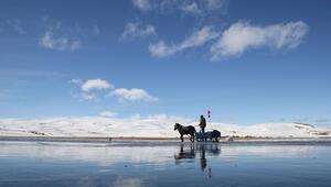 Çıldır Gölünde atlı kızak sezonu başladı