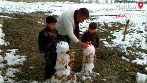 Oğluna kardan temsili pasta yaptı doğum gününü kutladı