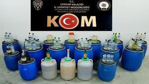 Çorumda kaçak içki operasyonu: Bin 863 litre ele geçirildi