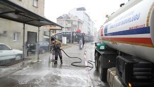 İnegölde otobüs durakları dezenfekte ediliyor