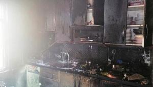 Karabükte mutfakta çıkan yangında  anne ile kızı yaralandı