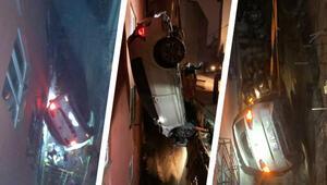 Son dakika... Kağıthanede ilginç kaza 10 metrelik boşluğa düştü