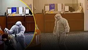 Rusyaya biyolojik kıyafetle soygun anı kamerada
