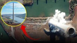ABDde 300 metrelik fabrika bacası 10 saniyede yıkıldı