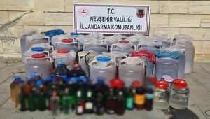 Ürgüp'te 1 ton 739 litre kaçak içki ele geçirildi