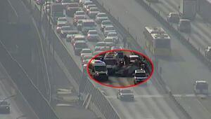 Haliç Köprüsünde otomobil takla attı, trafik oluştu