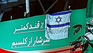 İrandaki bir üst geçide İsrail bayrağı ile teşekkürler Mossad yazısı asıldı