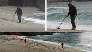 Son dakika haberi... İlginç görüntüler... Defineciler plaja indi