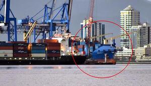 Alman askerlerinin hukuksuz arama yaptığı Türk gemisi İzmir'de