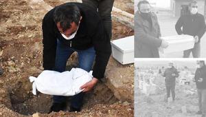Son dakika... Yürek sızlatan görüntü... Henüz 18 günlüktü Cenaze törenine 6 kişi katıldı