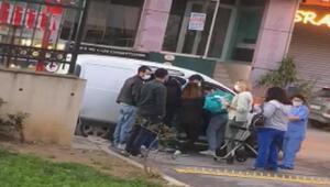 Sancaktepede hamile kadın hastane kapısında araçta doğum yaptı
