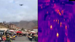 Divriğide pazarda dronlu ateş ölçümü