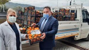 Havranda Yerli Malı Haftasında sağlık çalışanlarına mandalina dağıtıldı