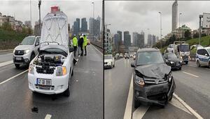 Üsküdar D-100 Karayolu Ünalan mevkiinde iki otomobil kaza yaptı:3 Yaralı