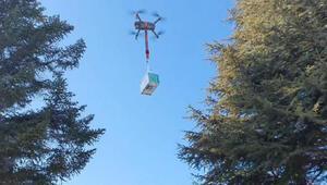 Elazığda, belediyeden kısıtlamada dronla maske dağıtımı