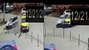 Otomobil ile taksinin kazası kamerada