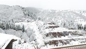 Sinop'un yüksek kesimleri beyaza büründü