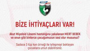 Denizlispor, Mert bebek için kampanya başlattı Lösemi hastası...