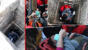 Adanada hamile kadının büyük şansızlığı  Bir anda 5 metrelik kanalizasyona düştü