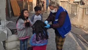 Göçmen çocuklara saç kesimi
