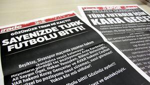 Sivas'ta yerel gazeteler spor sayfalarını kararttı Sayenizde Türk futbolu bitti...