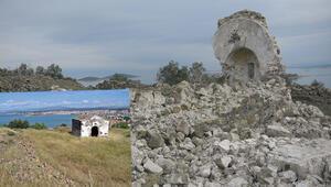 Balıkesirde 250 yıllık manastır şapeli defineci kazıları nedeniyle yıkıldı