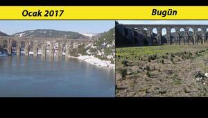 Tedirgin eden görüntü... Alibeyköy Barajında 4 yıl arayla çekilen görüntü tehlikeyi gözler önüne serdi