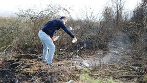 Adil Öksüzün çanta gömdüğü iddia edilen arazideki yangının nedeni araştırılıyor