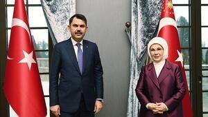 Bakan Kurum, Emine Erdoğanı ziyaret edip Sıfır Atık projesiyle ilgili bilgi verdi