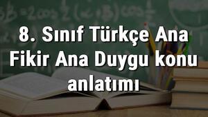 8. Sınıf Türkçe Ana Fikir Ana Duygu konu anlatımı