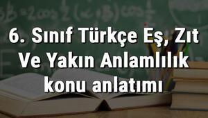6. Sınıf Türkçe Eş, Zıt Ve Yakın Anlamlılık konu anlatımı
