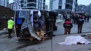 Samsunda feci kaza İşçi servisi aracı devrildi