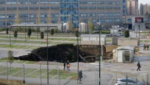 İtalyada inanılmaz anlar Pandemi hastanesinde oluşan dev çukur böyle görüntülendi