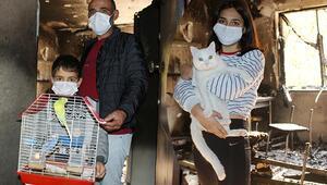 Antalyada oğlu Limonum içeride kaldı diye ağlayınca dumanın arasına girip kuşları kurtardı
