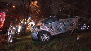 TEM Otoyolu'nda kaza Otomobil şarampole yuvarlandı