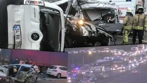 Son dakika: TEM Otoyolunda 12 aracın karıştığı zincirleme kaza Trafik kilitlendi