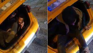 Taksinin bagajını açan polis şaşırdı kaldı Ceza yememek için bu yöntemi bulmuş