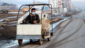 Hurda malzemelerden saatte 30 kilometre hızla giden araç yaptı
