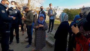 Evleri yanan Suriyeli yaşlı kadın, yalın ayak gözyaşı döktü