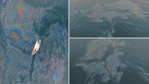 Hamsi avı yasaklanmıştı... Marmara Denizi'ndeki dev petrol sızıntısı böyle görüntülendi
