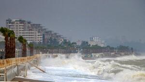 Antalyayı fırtına vurdu, 5 metrelik dalgalar oluştu, ağaçlar devrildi