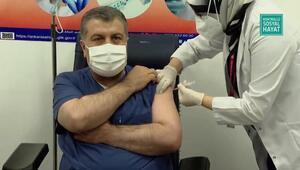 Son dakika haber: İlk koronavirüs aşısını Sağlık Bakanı Fahrettin Koca oldu Bakan Kocadan aşı sonrası ilk açıklama