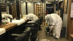 Fatih'te kuaför salonlarında dezenfekte çalışması