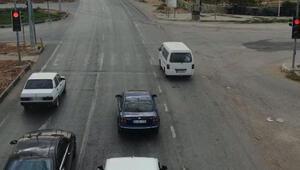 Işık ihlali yapılan sürücüler drone ile tespit edildi