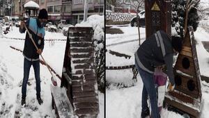 Dursunbeyde kar yağışının ardından sokak hayvanları unutulmadı
