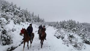 Sındırgı'da kar keyfini atlarla sürdüler