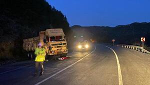 Kamyon kayalıklara çarptı, sürücü yaralandı