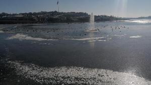 Ankarada göller ve havuzlar buz tuttu